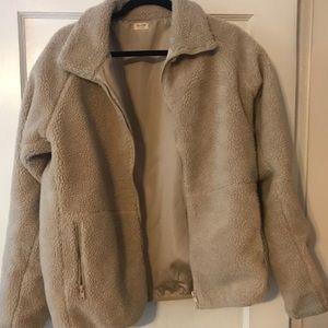 Brandy willow beige shearling teddy jacket